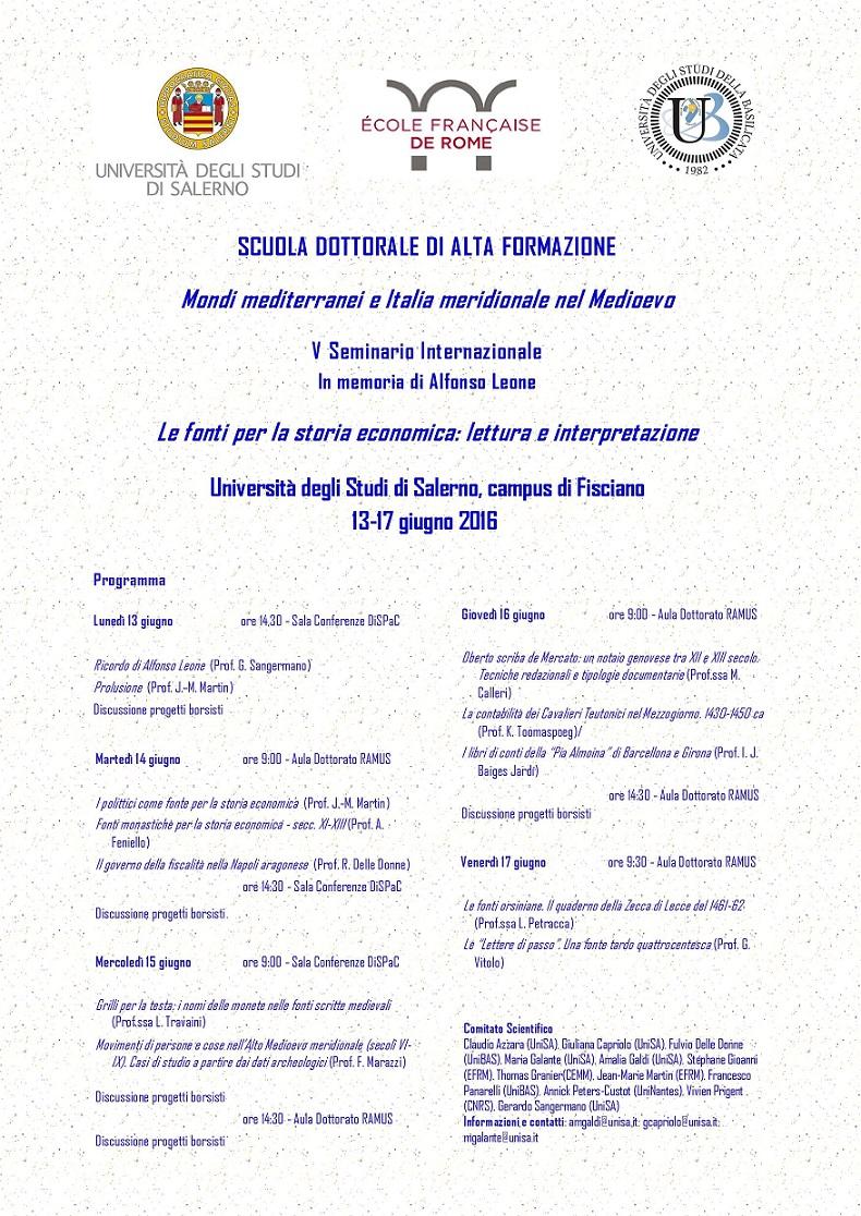 Calendario Unisa.Le Fonti Per La Storia Economica Lettura E Interpretazione